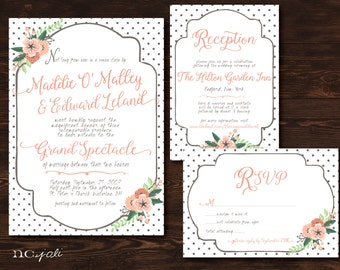 Printable Vintage Wedding Invitation, RSVP & OPTIONAL Information Card Suite- Print Yourself- Digital FIle