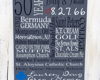 ANNIVERSARY Wedding WOOD CUSTOM Gift Sign