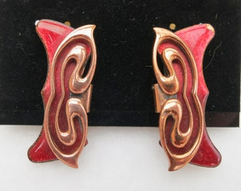 ON SALE !! Vintage Large Red Clip on Signed Matisse Earrings Enamel and Copper