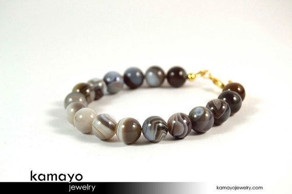 BOTSWANA AGATE BRACELET - Round Grey Botswana Agate Beads - 14K Gold Filled Findings - 8 Inches