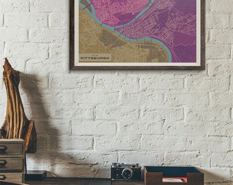 Purple Edition - Pittsburgh Vintage Map print