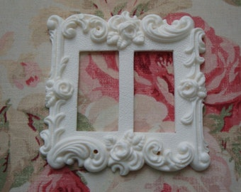 Shabby and Chic Roses & Flourish Double Rocker Wall Plate French Country