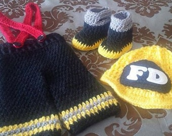 Fireman crochet 3 piece set and photography props