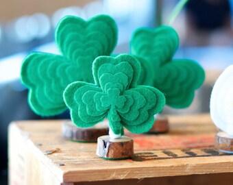Trio of Felt Shamrock Trees, home decor, St. Patricks day decorations, St. Patricks Day Party, Irish wedding, Irish Engagement Party
