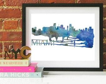 Miami Watercolor Skyline, Miami Skyline, Miami Art, Miami Poster, Miami Print, Miami Art, Miami Map, Miami Wall Art, Florida Art