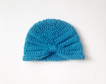 Crochet Infant Turban Hat, turban hat, 6-12 months, crochet hat, blue hat, winter hat, holiday gift, baby hat