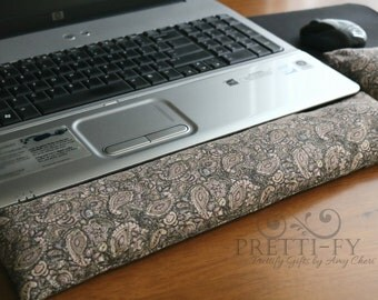 Keyboard Wrist Rest, Mouse Wrist Rest w/ Removable Cover, Wrist Pad, Fabric Wrist Protector, Office Desk Accessories, Paisley Fabric, Decor