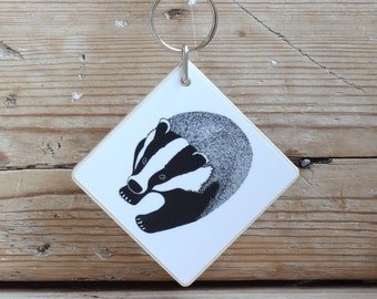 Wooden 'Badger' keyring