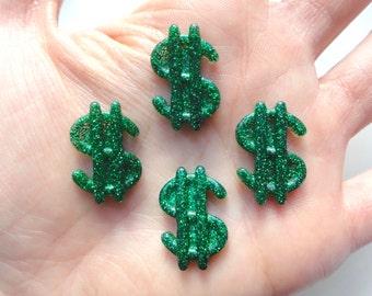 5 pcs - Glitter Green Dollar Sign Money Resin Flatback Cabochons - 21mm - Decoden - DIY - Scrapbooking - Currency - Casino