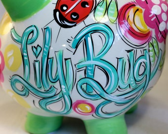 Piggy Bank for girls, Ceramic Piggy Bank, Personalized Piggy Bank, Ladybug Bank