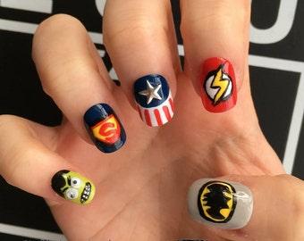 NAILED IT! Hand painted false nails - Superhero Marvel DC Comic - Hulk, Captain America, Batman, Ironman, Superman!