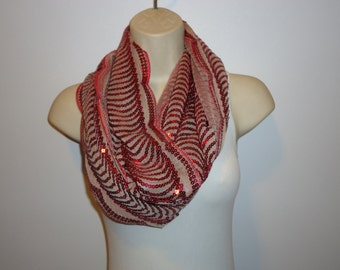 Beautiful Burgundy Sequin Scarf