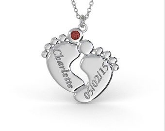 Personalized Baby Feet Name Necklace with Birthstone in Sterling Silver (1.0mm Thick)