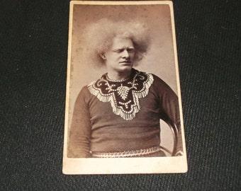 Vintage Barnum circus sideshow freak, Albino Giant, Charles Price. Original CDV photo