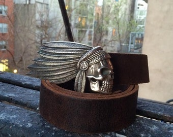 Skull with Feather Bonnet Belt