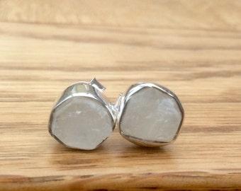 Gemstone Studs, Raw Moonstone Stud Earrings, Raw Stone Silver Stud Earrings, Raw Stone Studs, Raw Moonstone Sterling Silver Earrings