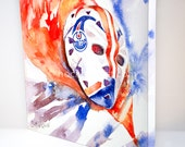 Grant Fuhr Goalie Mask Painting , Edmonton Oilers - Archival Stretched Canvas Print