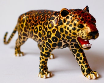 Original Amur Leopard Statuette - Gold Hand-painted Animal Figurine