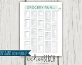 "PRINTABLE ""Grocery Run"" Check Off Shopping List 