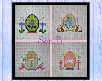 Set of FOUR Cross Stitch Easter Egg Patterns, PDF Download, Set B, Christian, Orthodox, Scotland
