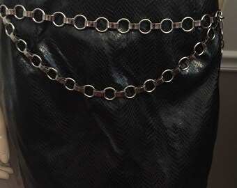 """Totally 80's /90's silver metal rock and roll or punk look / adjustable chain link belt / size adjustable  from XS to waist Large  32"""""""