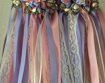 50 Wedding Wands/Wedding Ribbon Wands/Wedding Wand/Wedding Streamers/ Pink, Iris, Ivory Sheer and Natural Lace