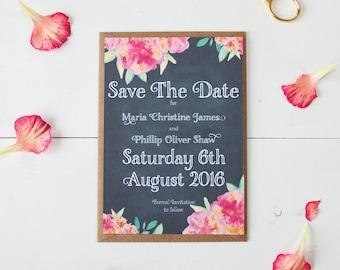 Save The Date - Chalkboard Watercolour - 'Christine' Wedding Stationery