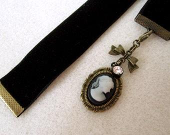 Black Velvet Ribbon Bookmark w/Black Cameo