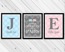 Personalized twins nursery decor with initials - twin boy and girl baby gift - chevron polka dots - gray pink blue nursery art