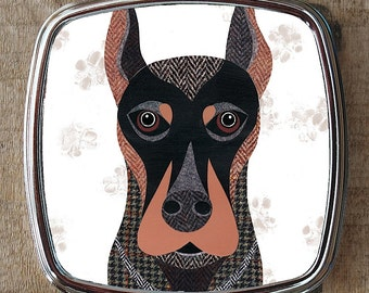 Dobermann dog compact mirror