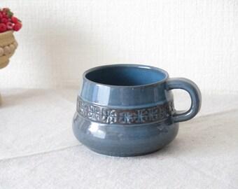 Vintage Blue Mug Swedish Pottery, Jie Gantofta, Scandinavian Ceramic Mug Cup @126