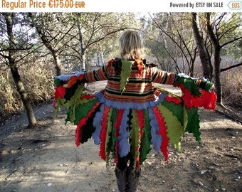 SALE Elf Coat Sweater Coat Upcycled Recycled jersey wool fabrics Pixie coat Fairy coat