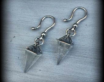 Clear Quartz Ear weight Quartz  Pyramid and Antique Silver Gemstone Ear weight for stretched lobes 00g 0g 2g 4g 6g