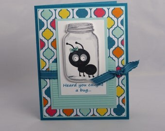 Stampin Up Handmade Greeting Card: Get Well Card, Thinking of You, Under the Weather, Feel Better Soon, Heard You Caught a Bug