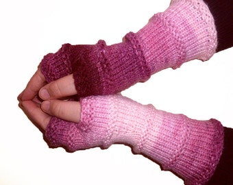 Knit Fingerless gloves | Arm warmers | Womens Fingerless | Long Mittens | Wrist warmers | Mismatched Gloves |