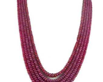"""on sale 25% shop sale Natural African Ruby AA Quality Precious Gemstones, Rich Lustrous Color Medium Smooth Rondelles 3-7 mm 5 strand 19"""" 1"""