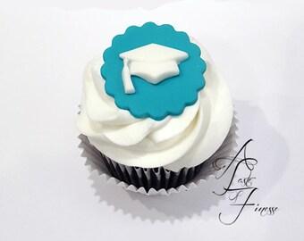 Fondant Graduation Cap Cupcake Toppers, Graduation Cake Decorations, Graduation Cap Cupcake Decorations