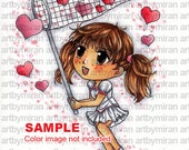 Digi Stamp-Catching Hearts(#06), Cute Girl Coloring page, Digital Stamp, Printable Line art for Card and Craft Supply, Art by Mi Ran Jung