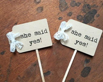 She Said Yes Cupcake Toppers | Rustic Bridal Shower Decor | Bridal Shower Cupcake Toppers | Rustic Wedding Decor