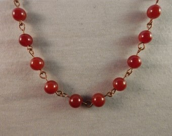 Carnelian 24in to 16in 6mm Beaded Copper Necklace with Lobster Clasp