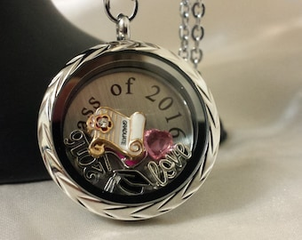 2016 graduation locket, stainless steel locket, Graduation gift