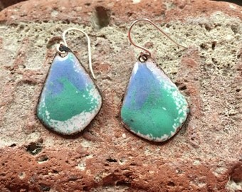 Enamel earrings torch fired sterling silver copper one of a kind