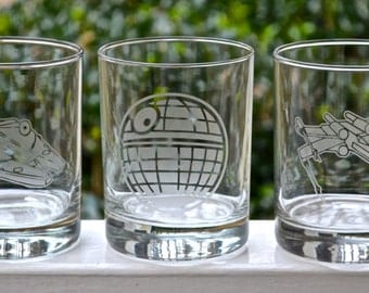 Star Wars Inspired Etched Glasses,  Millennium Falcon, Death Star, X-Wing, Star Destroyer, Tie Fighter Etched Glasses