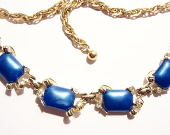 Vintage Signed Bogoff Necklace Blue Thermoset Goldtone