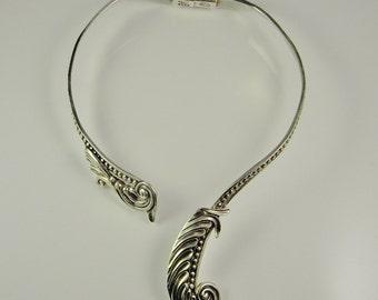 Silver Art Deco Necklace Collar Necklace Choker Necklace Artisan Necklace Designer Necklace 1940s Jewelry Handmade Necklace Retro Necklace