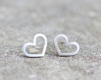 Heart studs - sterling silver heart stud earrings - minimal, simple every day earrings