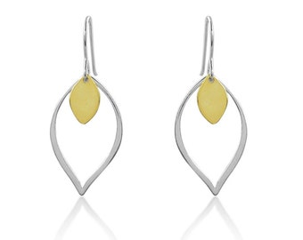 Silver and Gold Lotus Petal Earrings/.925 Sterling Silver/Lotus Flower Earrings/Minimalist Earrings/Yoga Earrings/Dangling Lotus on Wire