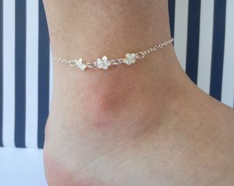 "Sterling Silver Hawaiian Anklet/Plumeria Anklet/Hawaiian Anklet/Frangipani Ankle Bracelet/9"" Anklet, 10"" Anklet, 11"" Anklet, 12"" Anklet"