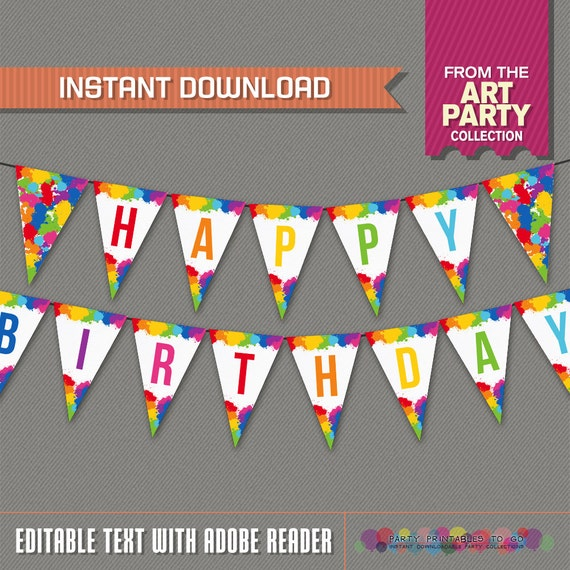 Art Party Printable Birthday Banner With Spacers Editable