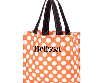 Personalized trick or treat bag - Name - Orange polka dot Monogram Halloween tote Bag - Tote Bag Kids Tote - Girls  or Boys Tote